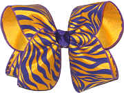 Purple and Yellow Gold Tiger Stripe over Yellow Gold Large Double Layer Bow