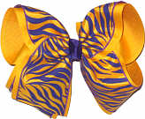 Purple and Yellow Gold Tiger Stripes over Yellow Gold Grosgrain MEGA Extra Large Double Layer Bow