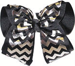 Black and Metallic Silver Over White Grosgrain MEGA Extra Large Double Layer Bow