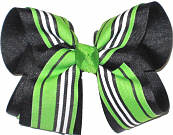 Green Black and White over Black Large Double Layer Bow