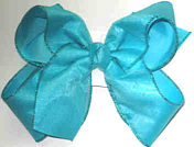 Chiffon Gliiter over Turquoise Large Double Layer Bow