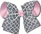 Light Pink with Gray and White Quatrafoil Large Double Layer Bow
