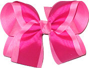 Hot Pink and Azalea Large Double Layer Bow