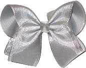 Metallic Silver Mesh over Millenium Gray Grosgrain Large Double Layer Bow