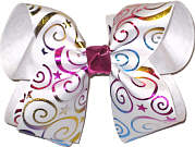 Metallic Multi and White over White Large Double Layer Bow