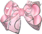 Chiffon with Silver Glitter Swirl over Pink Large Double Layer Bow