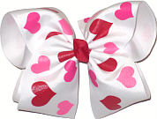 Red and Pink Hearts on White. Double 3'' wide ribbon layers MEGA Extra Large Double Layer Bow