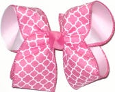 Hot Pink and White Large Double Layer Bow