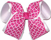 Shocking Pink and White MEGA Extra Large Double Layer Bow