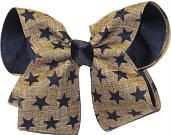 Khaki Canvas with Navy Stars over Navy Large Double Layer Bow