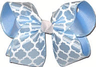 Light Blue and White over Millenium Blue Large Double Layer Bow