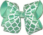 Mint and White Large Double Layer Bow