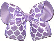 Light Orchid and White over Lavender Large Double Layer Bow