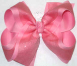 Pink Glitter Chiffon over Pink Large Double Layer Bow