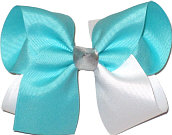 Aqua and White with Silver Knot Large Double Layer Bow