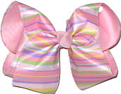 Multicolor Stripe over Light Pink Large Double Layer Bow