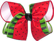 Watermelon Print over WHite Large Double Layer Bow