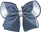 denim and White with Jeweled Center Large Double Layer Bow