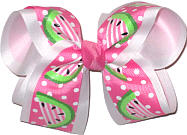 Watermelon Slices on Hot Pink over White Large Double Layer Bow