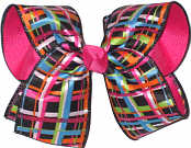 Multicolor over Shocking Pink Large Double Layer Bow