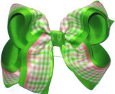 Pink Green and White over Apple Green Large Double Layer Bow