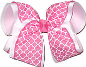 Hot Pink and White MEGA Extra Large Double Layer Bow