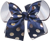 Navy with Silver Dots over White Large Double Layer Bow