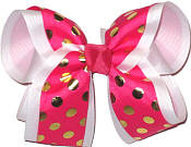 Shocking Pink with Metallic Gold Dots over White Large Double Layer Bow