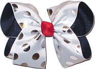 White with Silver Dots over Navy Large Double Layer Bow