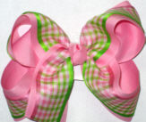 Pink Green and White over Pink Large Double Layer Bow