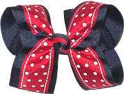 Red with White Dots and Trim over Navy Large Double Layer Bow