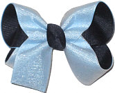 Medium 3 Layer Glitter Chiffon over 312 Blue and Navy School Bow