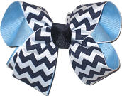 Medium Navy and White Chevron over 312 Blue School Bow