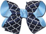 Medium Navy and White over 312 Blue School Bow