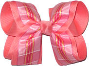 Pink and White over Coral Large Double Layer Bow