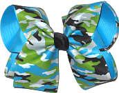 Blue Green Black and White Camo over Blue Large Double Layer Bow