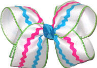 Turquoise and Shocking Pink Rickrack over White Large Double Layer Bow