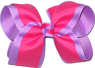 Orchid and Shocking Pink Large Double Layer Bow