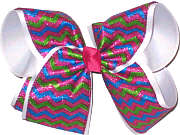 Shocking Pink Blue and Green Glitter Chevron over White MEGA Extra Large Double Layer Bow