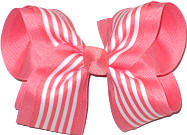 Coral and White over White Large Double Layer Bow