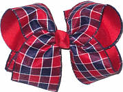 Red Navy White over Red Large Double Layer Bow