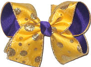 Yellow Gold with Gold Glitter Dots over Purple Grosgrain Large Double Layer Bow