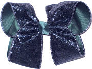 Evergreen with Navy Glitter Large Double Layer Bow