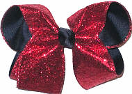 Navy with Red Glitter Large Double Layer Bow