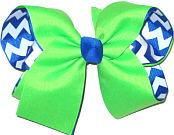 Neon Green over Electric Blue and White Large Double Layer Bow