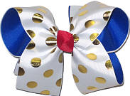 White with Metallic Gold Dots Over Electric Blue Large Double Layer Bow