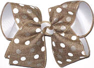 White and Brown Dots on Canvas Turftan over White  Large Double Layer Bow