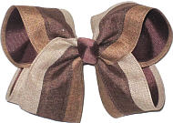 Oatmeal Turftan and Brown Canvas over Brown Large Double Layer Bow