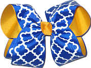 Electric Blue White Yellow Gold MEGA Extra Large Double Layer Bow