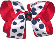White with Navy Dots over Red Large Double Layer Bow